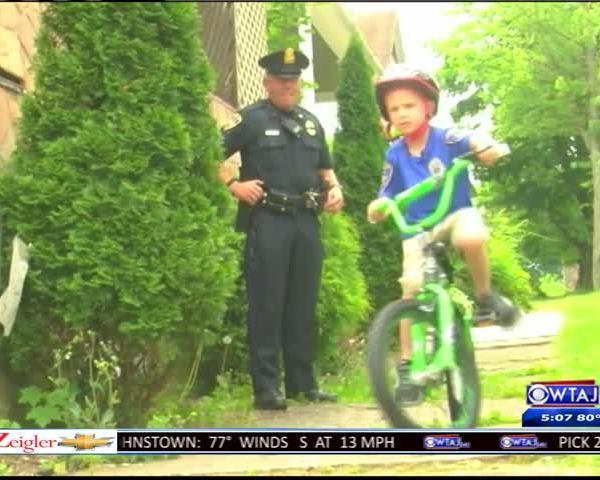Johnstown police donate bike to injured boy