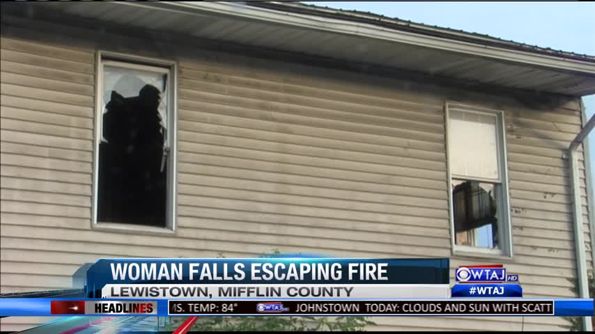 Lewistown woman falls from burning building