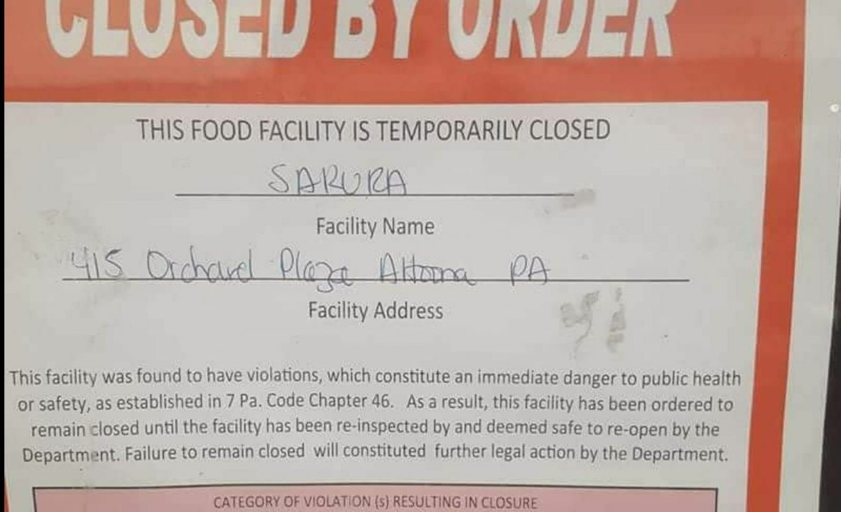 Altoona Japanese Steakhouse temporarily closed for failing