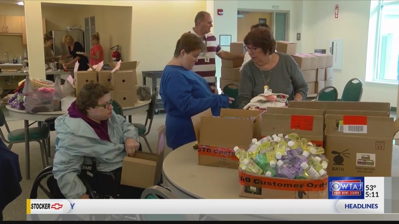 Volunteers pack Buba Box care packages