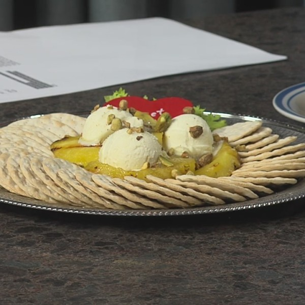 2-7 Grilled Pineapple with Mascarpone Cheese and Pistachios