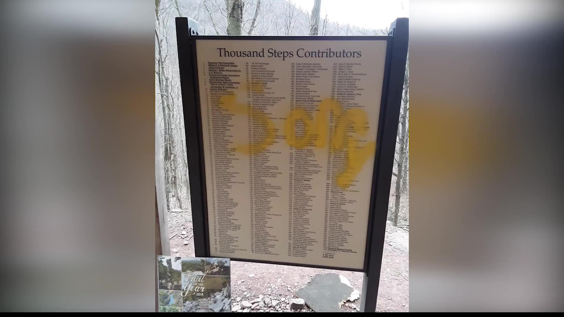 1000 Steps vandalized