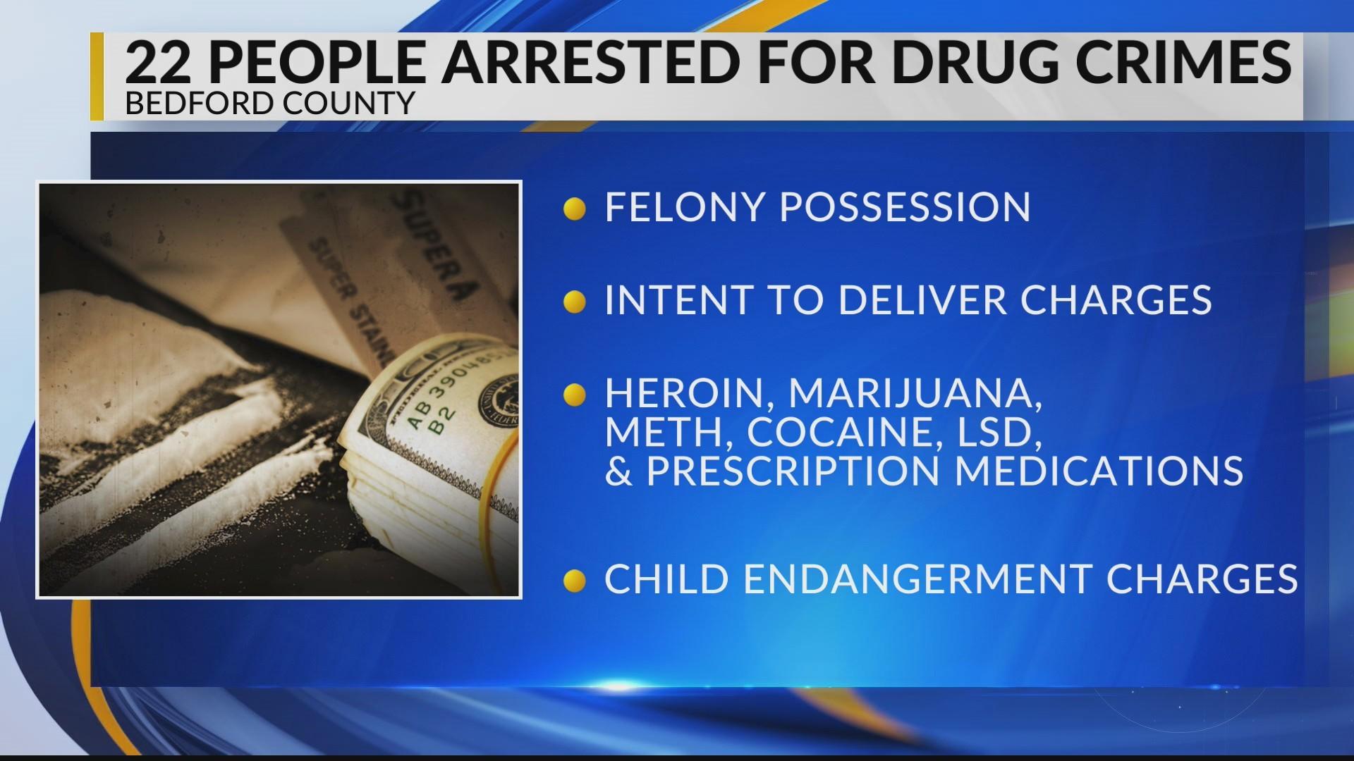 22 arrested in Bedford County drug bust