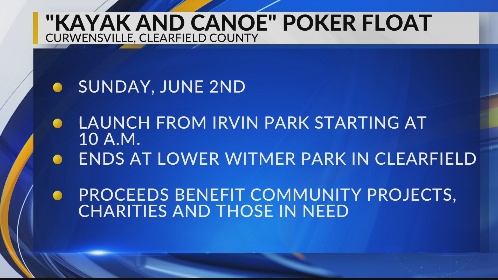"""""""Kayak and Canoe"""" Poker Float in Clearfield County"""