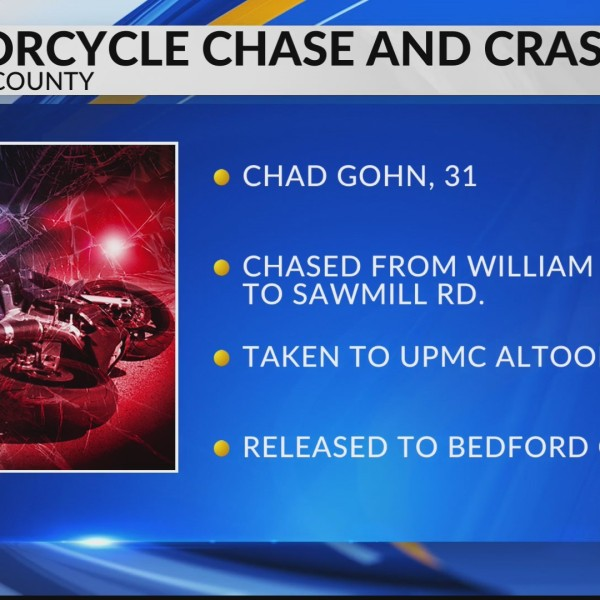Motorcycle chase ends in crash