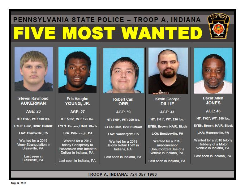 State Police, Troop A, Indiana Looking For Five Most