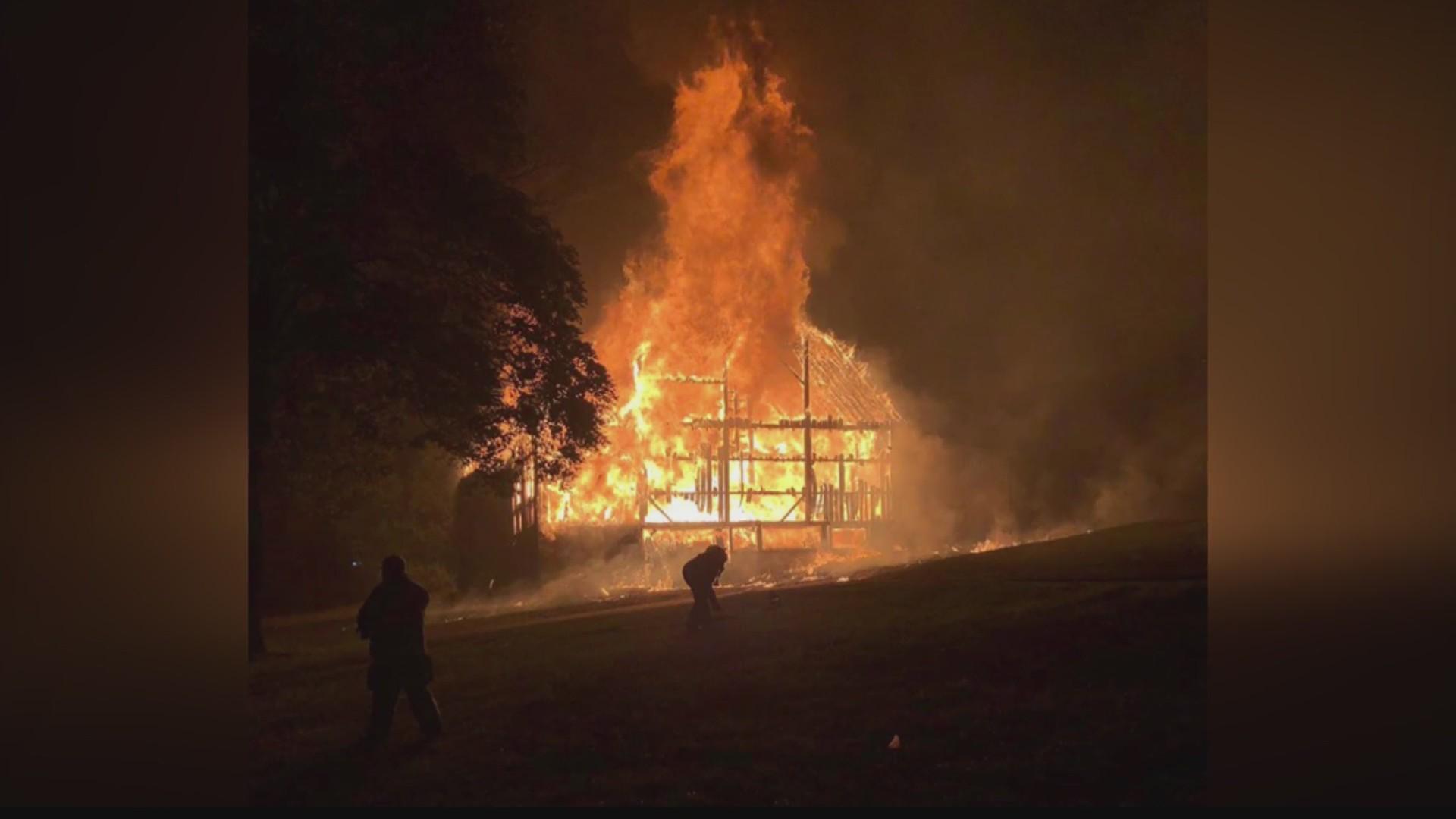 Massive fire tears through empty barn