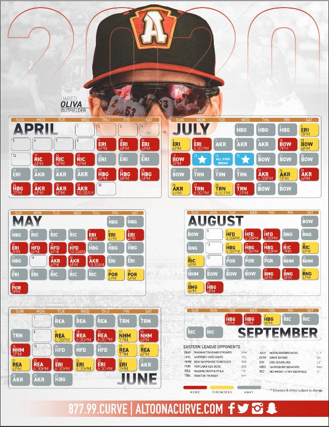 Altoona Curve Schedule 2020 Altoona Curve releases 2020 game schedule | WTAJ